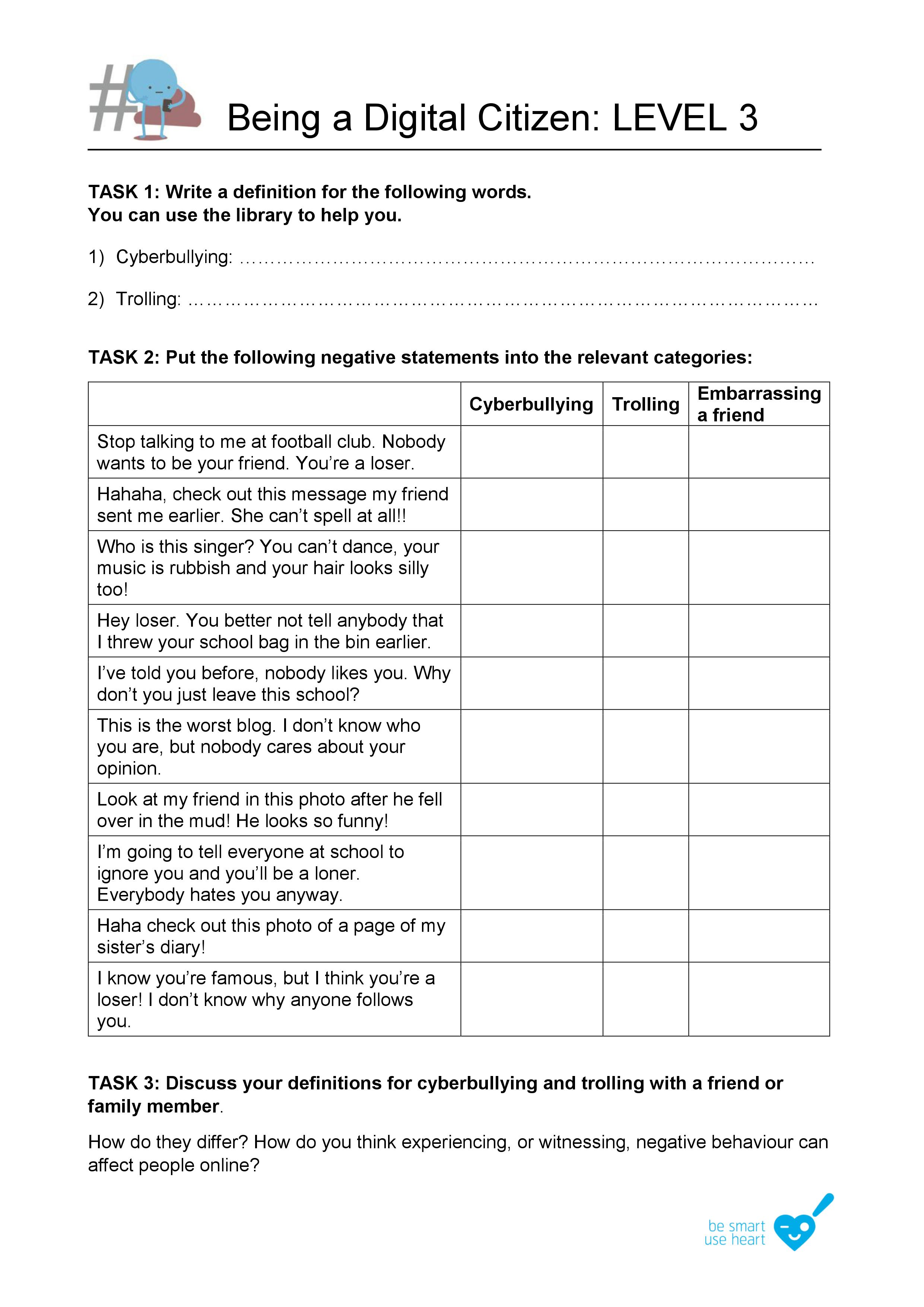Level 3 Kindness Worksheet